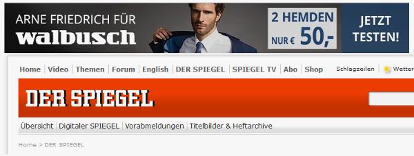 Beispiel Bannerwerbung bei Spiegel Online