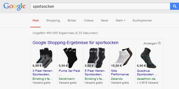 Anzeigenbeispiel Google Shopping