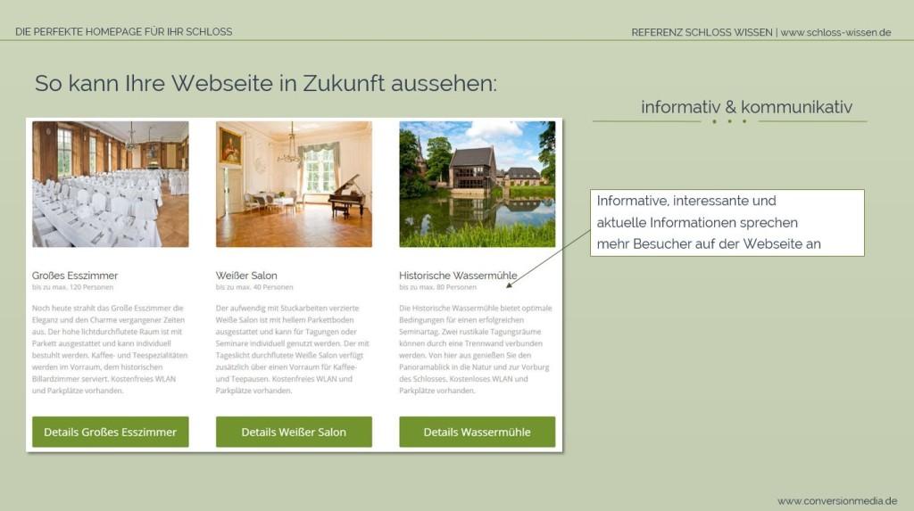 Die Schloss Webseite bietet relevante Inhalte für den Gast