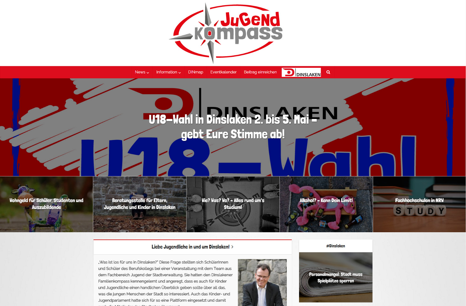 Startseite der Jugendkompass Webseite