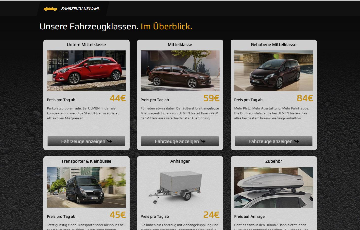 Autovermietung Ulmen - Kategorieseite