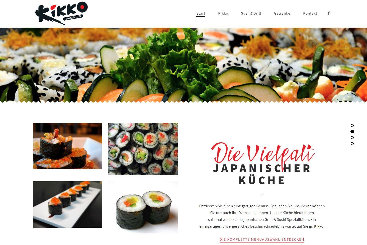 Webseite des Sushi Restaurants Kikko