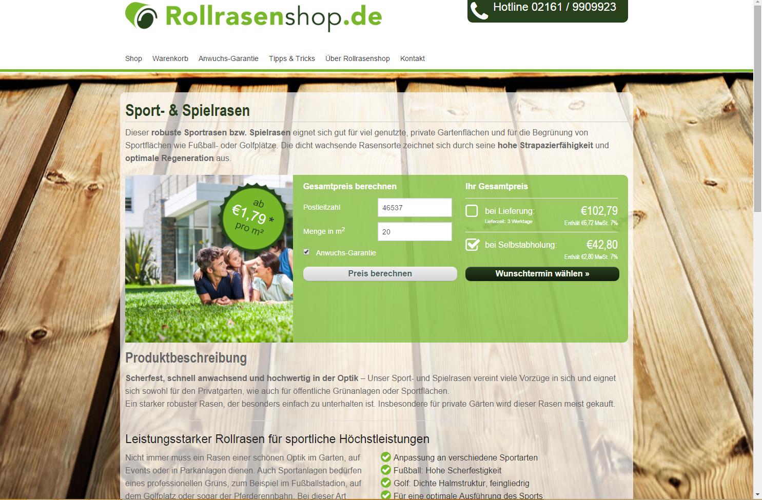Leichter Bestellvorgang im Rollrasen Onlineshop.