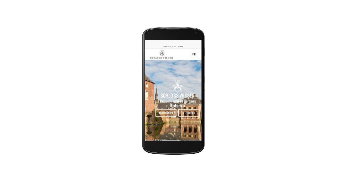Mobile Ansicht der Schloss Wissen Webseite