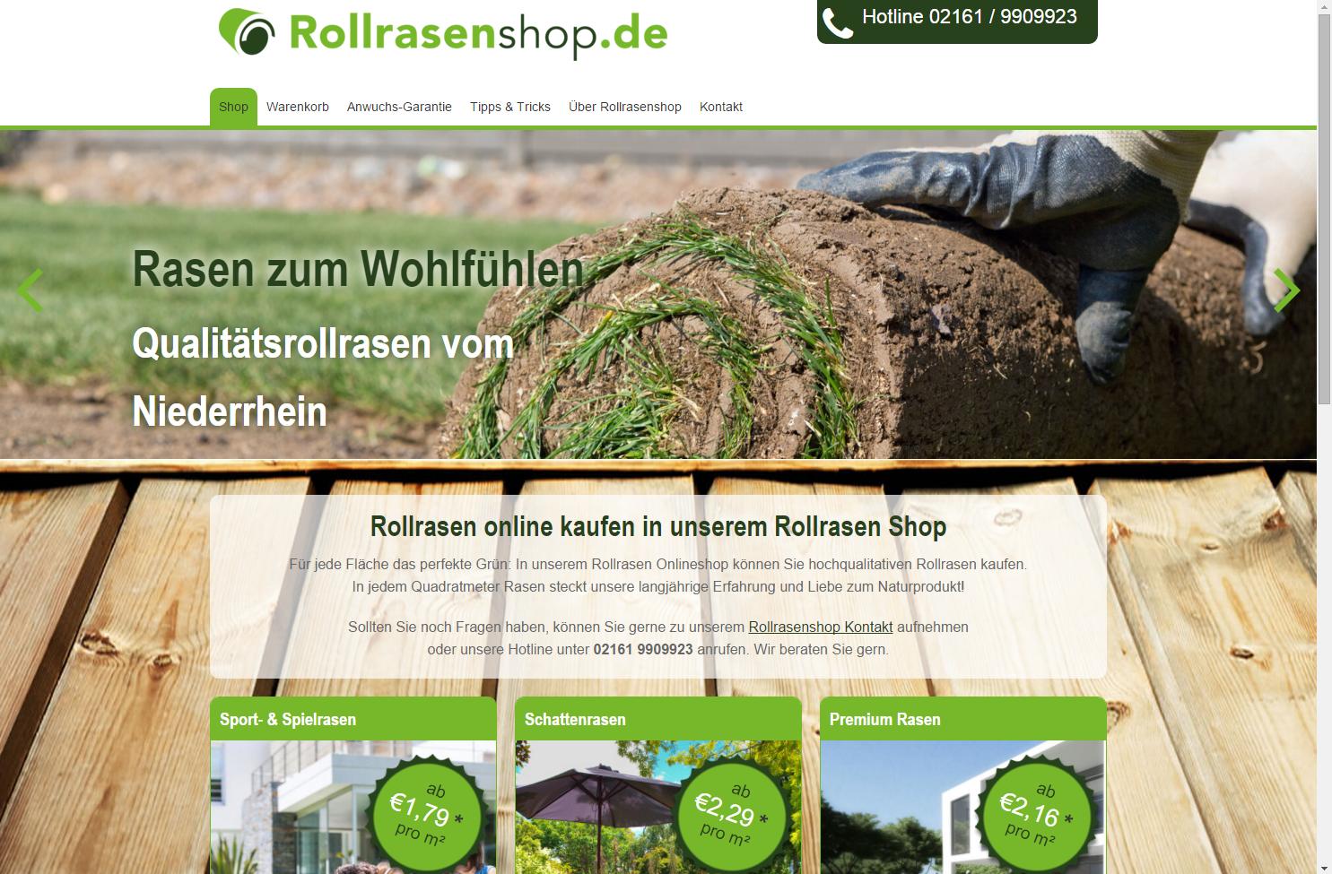 Startseite des Rollrasen Onlineshop.