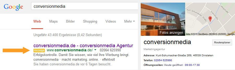 Beispiel für Suchmaschinenwerbung