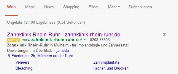 Anzeigenbeispiel von Google Adwords