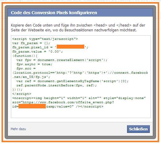 Facebook Code des Conversion Pixels konfigurieren