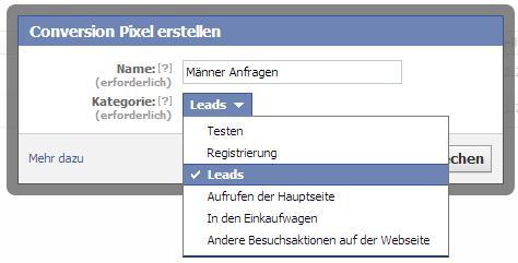Facebook Conversion Pixel erstellen und bennenen