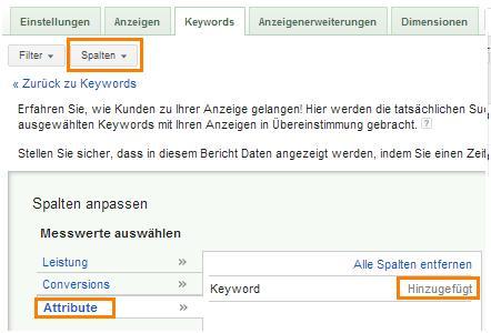 Google AdWords Suchbegriffe - Keyword-Details-Spalten-Attribute