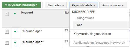 Google AdWords Suchbegriffe - Keyword-Details