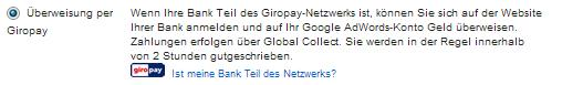 Google AdWords Zahlungsmoeglichkeit - Giropay