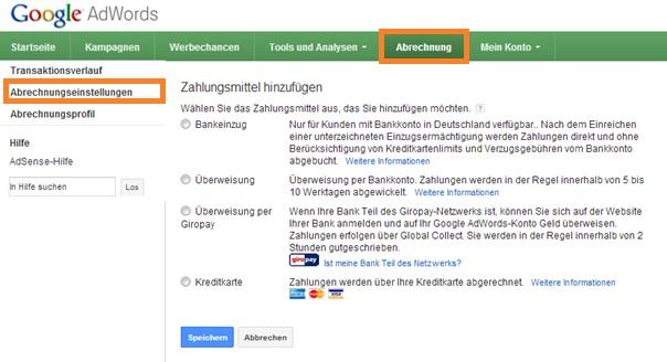 Google AdWords Zahlungsmoeglichkeiten