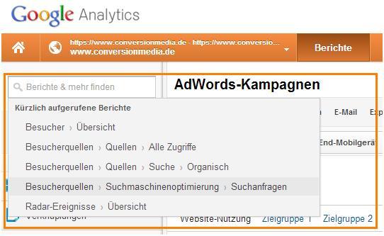 Google Analytics Tastenkürzel - s drücken um sich die kürzlich aufgerufenen Berichte anzuzeigen
