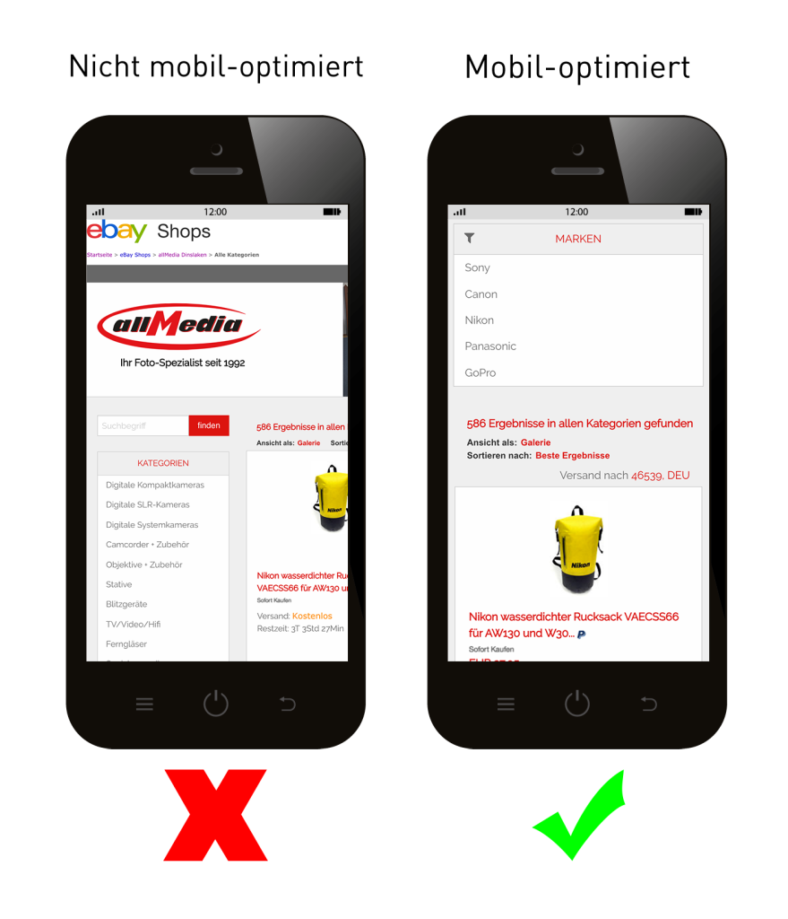 mobiles eBay Shop Design des Fotofachgeschäfts allMedia aus Dinslaken