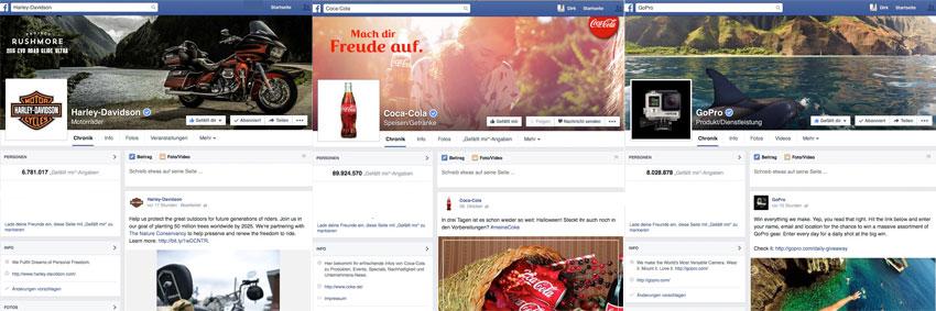 Drei Beispielsseiten von Facebook Fanpages