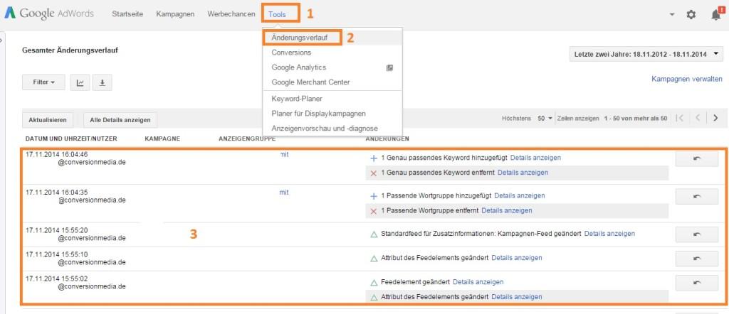 Google AdWords Änderungsprotokoll