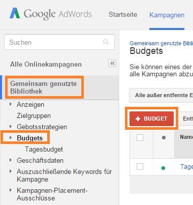 Google AdWords Kontotagesbudget Schritt 1