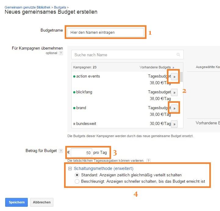 Google AdWords Kontotagesbudget Schritt 2 - neues gemeinsames Budget erstellen