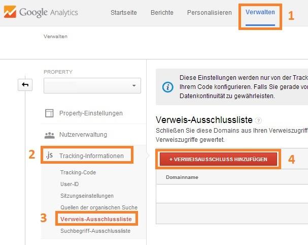 Google Analytics Verweis-Ausschlussliste