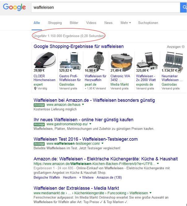 Google Suchergebnisse Waffeleisen