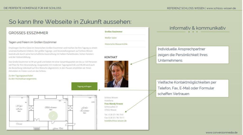 Kontaktmöglichkeiten auf der Webseite schaffen Vertrauen