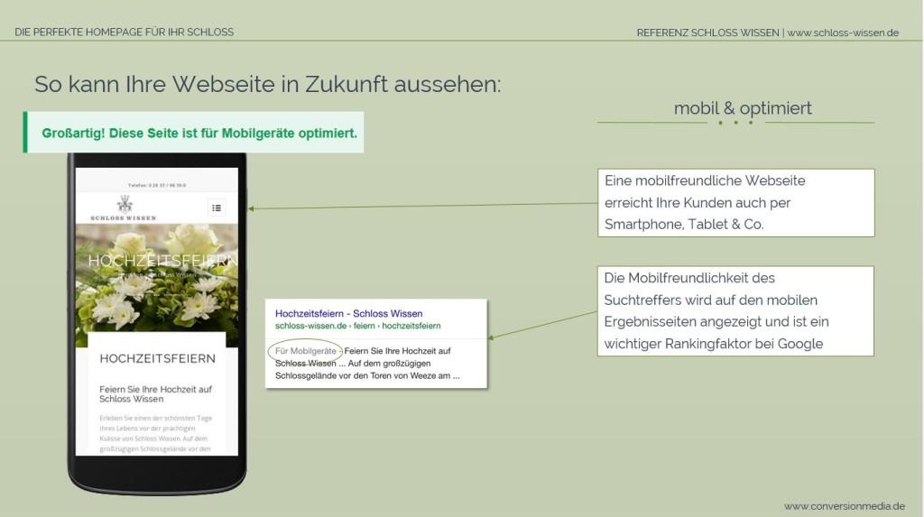 Die Schloss Webseite ist für Mobilgeräte optimiert