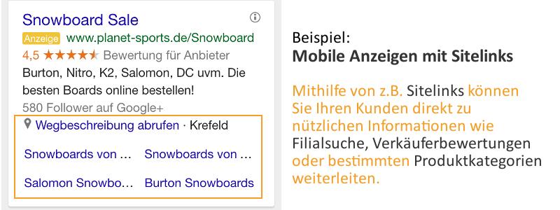 Beispiel für eine mobile Anzeige mit Sitelink