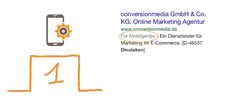 Mobile Webseiten werden in Google speziell gekennzeichnet.