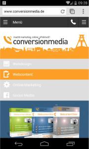Responsive Webseite der conversionmedia