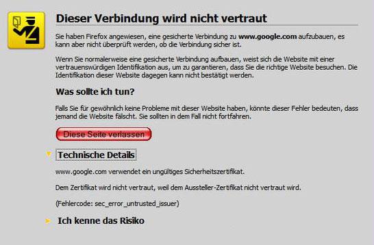 Hinweis über ein SSL Zertifikat unter Mozilla Firefox welches nicht von einer Vertrauenswürdigen Stelle verifiziert wurde