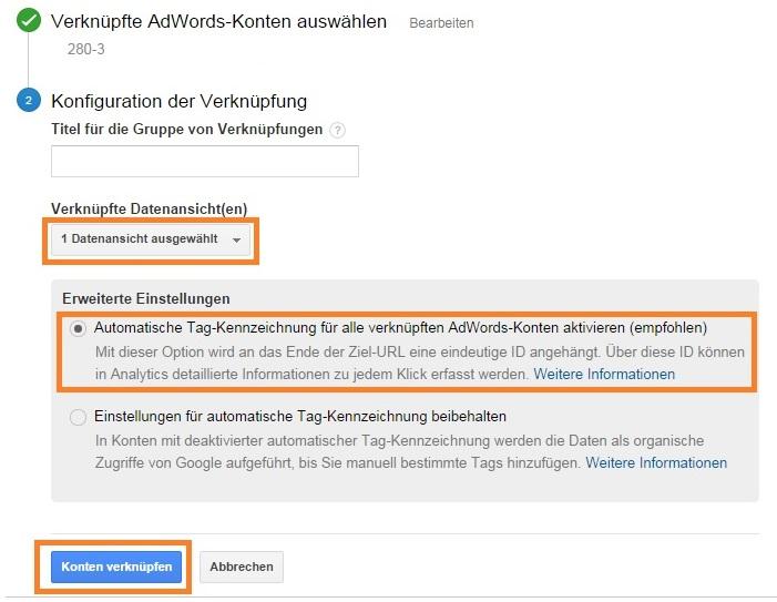Vernüpfte AdWords-Konten auswählen mit automatischer Tag-Kennzeichnung